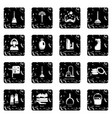 cleaning tools icons set grunge vector image vector image