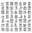 coffee machine icons set outline style vector image vector image