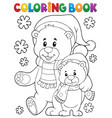 coloring book winter bears theme 1 vector image vector image