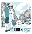 couple fashion city street poster vector image vector image