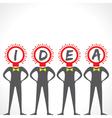 Creative idea text with bulb face man vector image