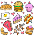 doodle of food various cake set vector image vector image