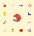 flat icons reward ball rugby and other vector image vector image