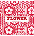 flower white and red sakura hexagon frame pattern vector image