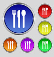 fork knife spoon icon sign Round symbol on bright vector image vector image