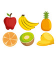 fruits group with nutrition facts vector image
