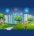 funny cartoon family and children are playing in t vector image vector image