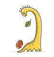 funny dinosaur childish style sketch for your vector image vector image