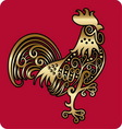 Golden rooster ornament vector image