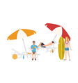 group of guys in beachwear lying and sitting on vector image