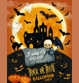 halloween horror party poster with ghost and house vector image vector image