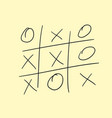 hand-drawing playing tic tac toe on paper vector image vector image