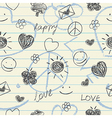 Hand drawn doodles seamless pattern vector image vector image