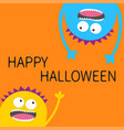 happy halloween card two screaming monster head vector image vector image