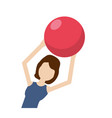 healthy woman doing exercise with ball vector image vector image