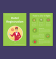 how to do right hotel registration instruction vector image