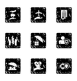 Insurance icons set grunge style vector image vector image