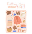 knitted items market flat poster template