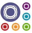 lifebuoy icons set vector image vector image