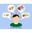 male silhouette with a day diet and question marks vector image vector image
