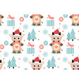 merry christmas seamless pattern cute bull vector image vector image