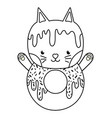 outline kawaii cute cat donut food vector image