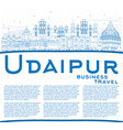 outline udaipur skyline with blue buildings and vector image vector image