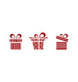 pink and red gifts icon set on white background vector image vector image