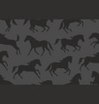 seamless pattern with black horses silhouettes vector image vector image