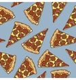 Seamless Pattern with Pepperoni Pizza Slices vector image