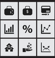 set of 9 editable statistic icons includes vector image vector image