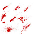 set of blood splashes isolated on white vector image vector image