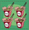 set of four chinese noodles in red box vector image vector image