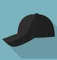 side view of black baseball cap icon flat style vector image vector image