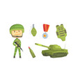 soldier and military equipment khaki color vector image
