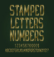 stamped golden letters numbers dollar and euro vector image vector image