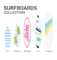 Surfboards types silhouettes Modern colorful vector image