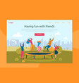 trampoline jumping flat landing page template vector image vector image