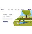 work from park landing page template online vector image vector image