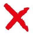 x - red cross handwritten vector image vector image
