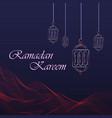 ramadan kareem greeting card hanging lanterns and vector image