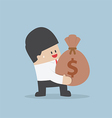 Businessman holding a money bag with dollar sign vector image