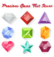 set of colorful precious gem icons in flat style vector image