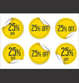 25 percent off yellow paper sale stickers vector image