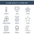 9 quality icons vector image vector image