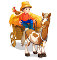 A farmer riding a cart with a chicken at his back vector image vector image