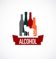 Alcohol sign Different bottle and glass vector image vector image