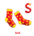 alphabet letter s sock vector image vector image