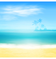 Beach and tropical sea with island and palm trees vector image