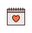 calendar valentines day flat color icon vector image vector image